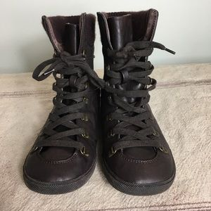 Blowfish Brown Lace Up Pleather Sneaker Boots Sock